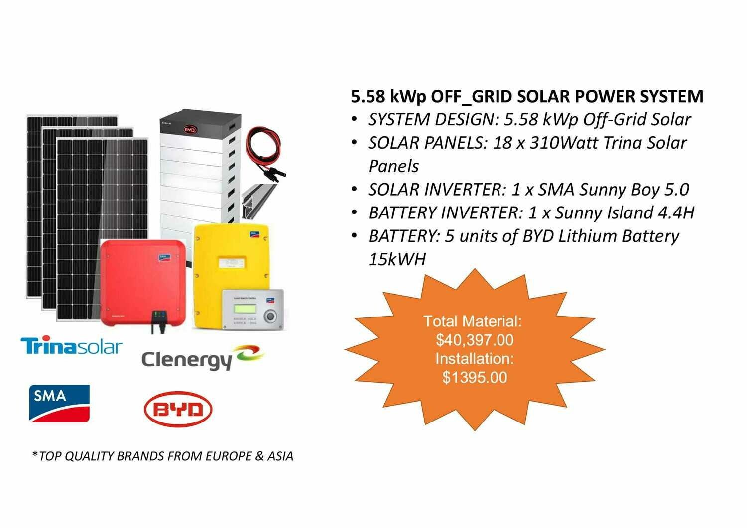 5.58kWp Off Grid Solar Power System