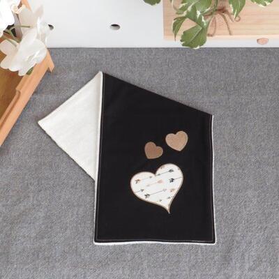 "Burp Cloth ""Black with Hearts"""