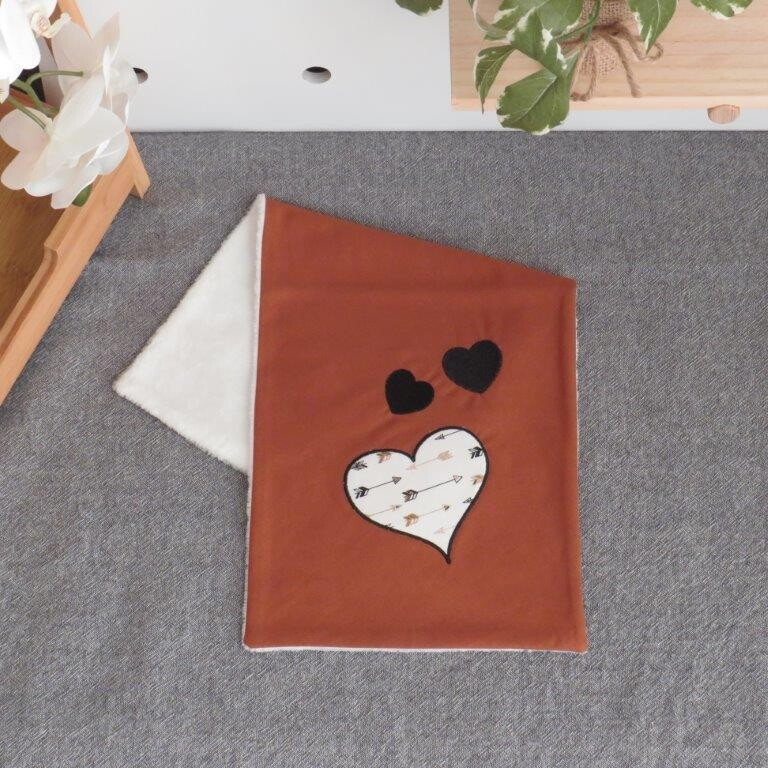 """Burp Cloth """"Brown with Hearts"""