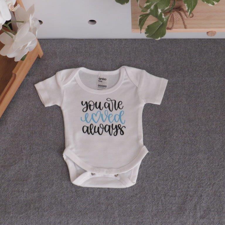 "Small Newborn Bodysuit ""You`re loved always"""