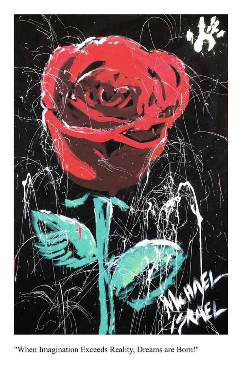 GIANT 4' x 6' Autographed Michael Israel Red Rose Acrylic 24K Gold Painting