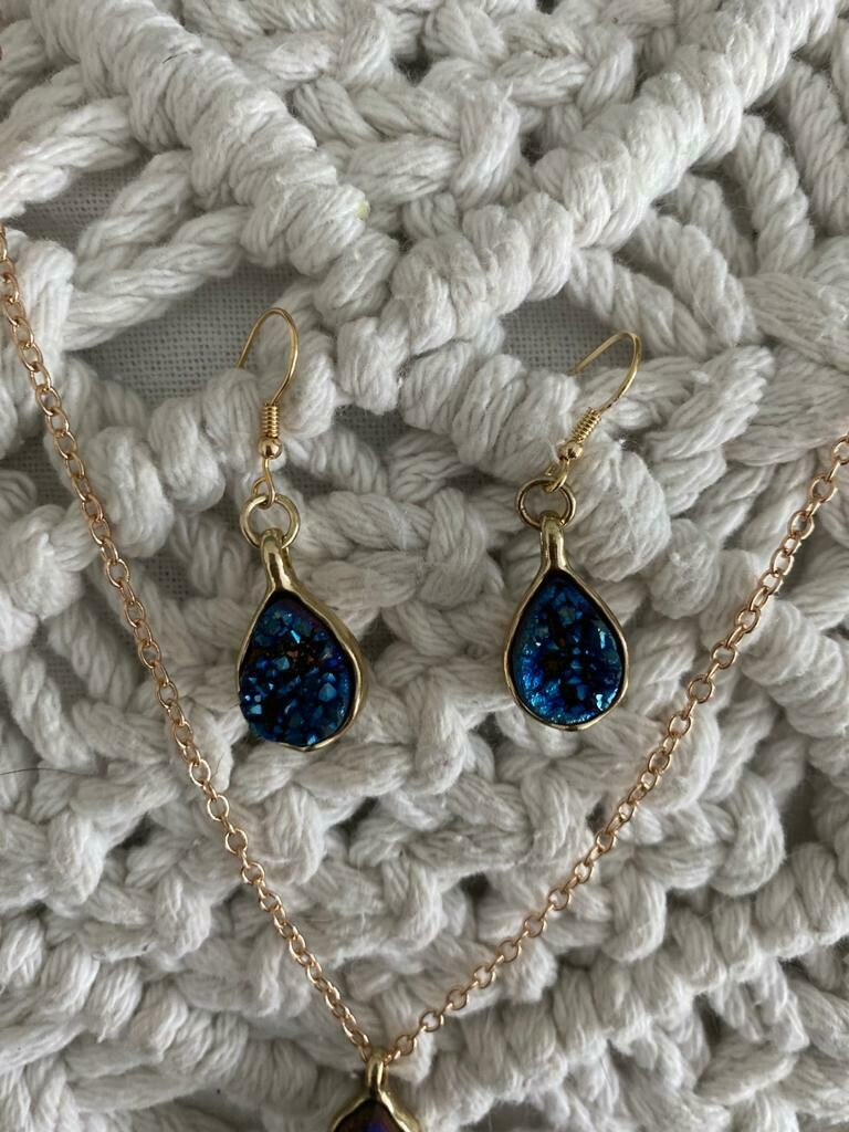 Genuine Stone Necklace and Earring Set