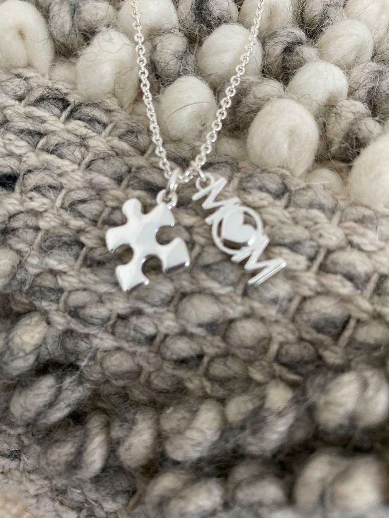 Autism Mom Puzzle Piece Necklace