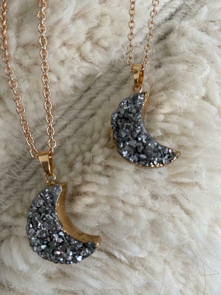 Genuine Stone Moon Necklace