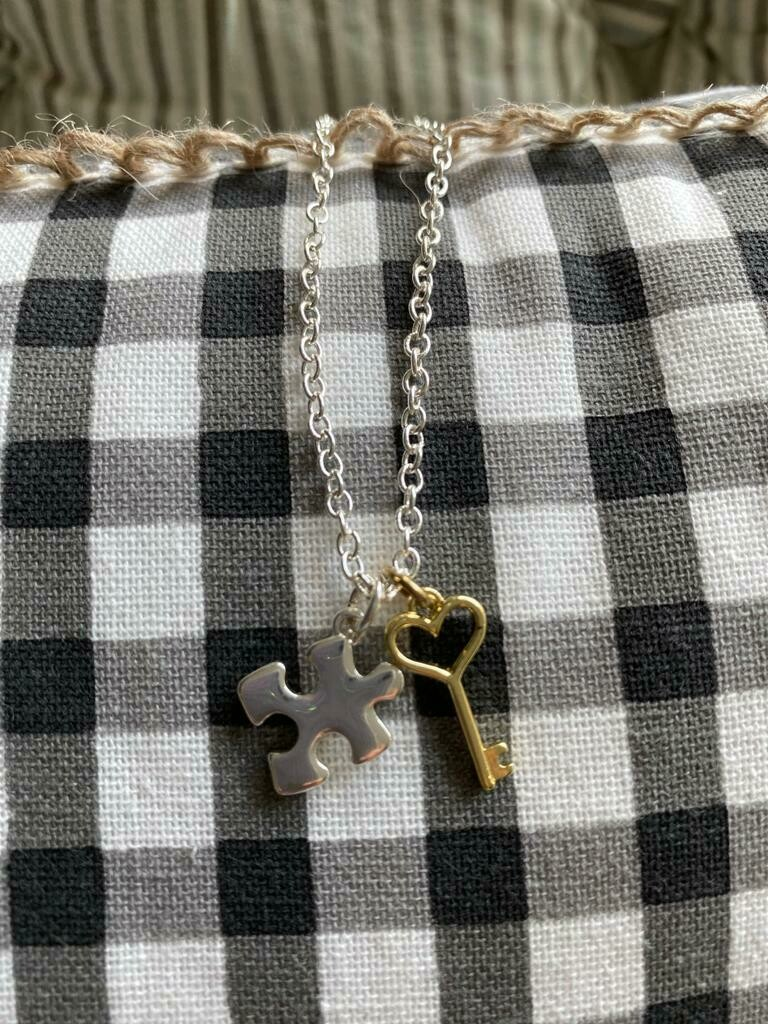 Puzzle Piece and Key Necklace