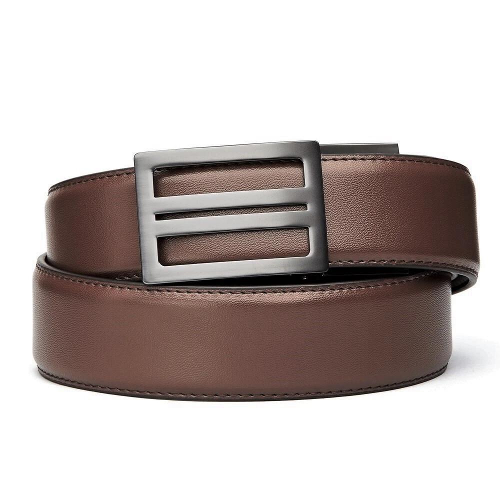 "KORE X1 Gunmetal Brown Leather Micro Adjust Belt Size 24""-44"""