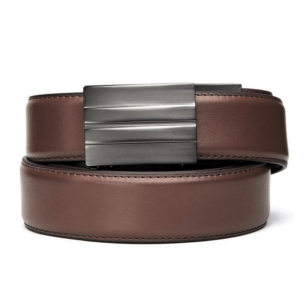 "KORE X2 Gunmetal Brown Leather Micro Adjust Belt Size 24""-44"""