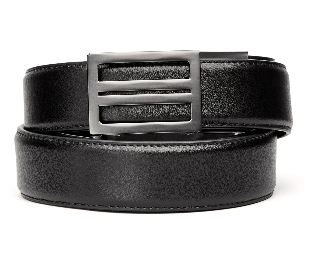 "KORE X1 Gunmetal Black Leather Micro Adjust Belt Size 24""-44"""