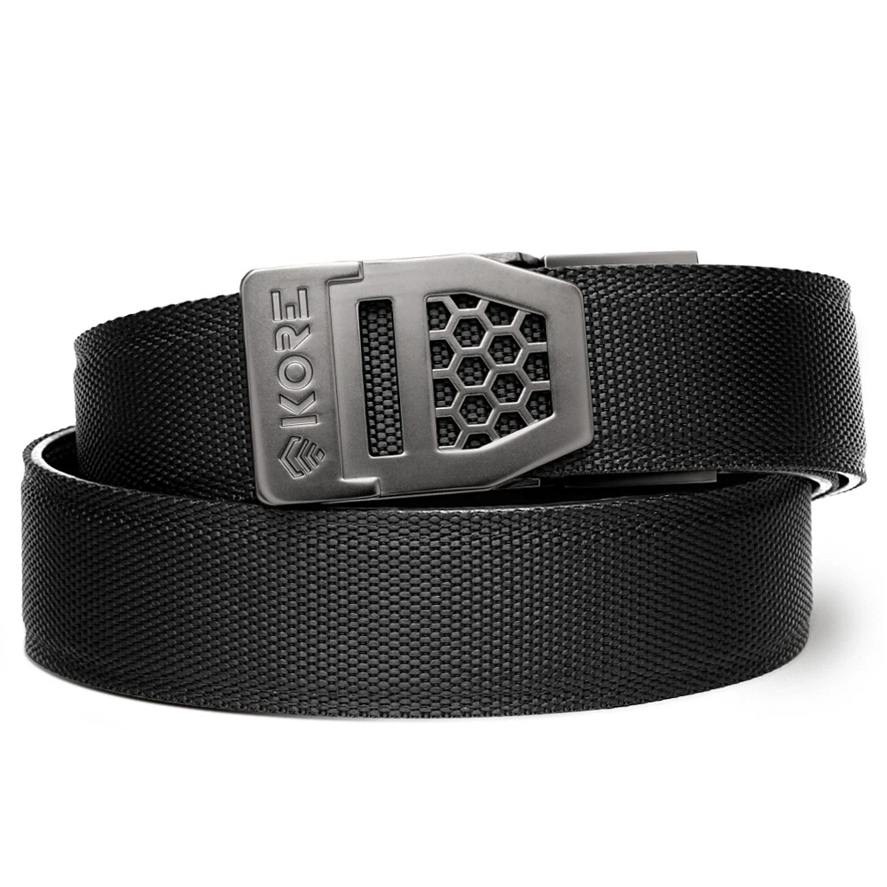 "KORE X6 Gunmetal Buckle Black Tactical Micro Adjust Belt Size 24""-44"""