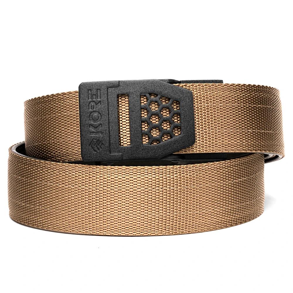 "KORE X6 Black Buckle Tan Tactical Micro Adjust Belt Size 24""-44"""
