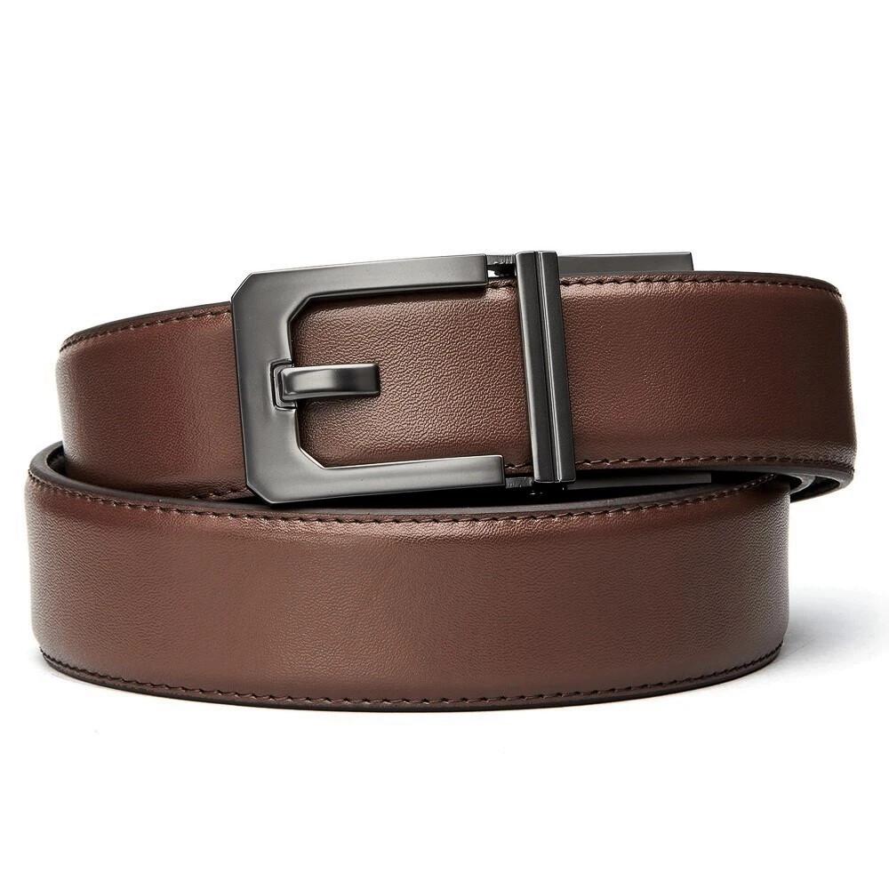"KORE X3 Gunmetal Brown Leather Micro Adjust Belt Size 24""-44"""