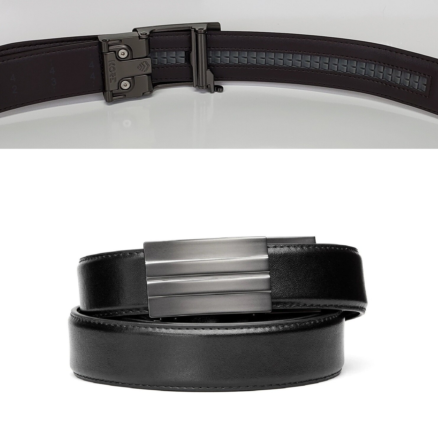"KORE X2 Gunmetal Black Leather Micro Adjust Belt Size 24""-44"""