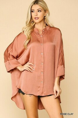 SATIN BUTTON LOOSE FIT