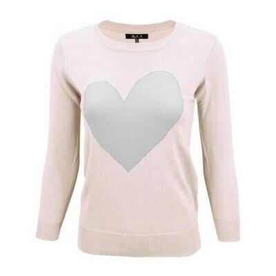 Blush/ Grey Heart Sweater