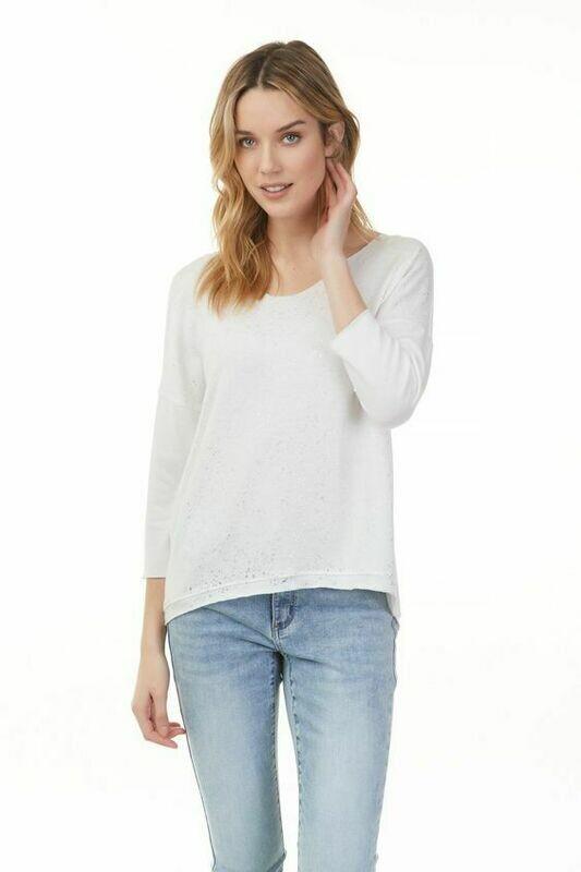 Sparkling White Knit Top