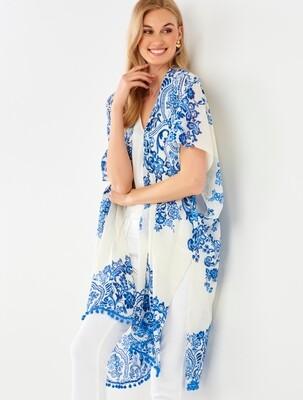 Blue/White Painted Kimono