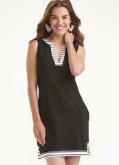Solid W/ A Simple Stripe Dress