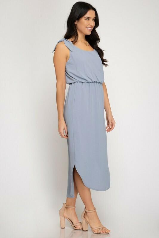 MISTY BLUE DRESS W/ SHOULDER TIE