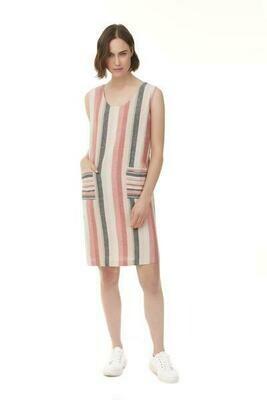 WATERMELON LINEN STRIPE DRESS