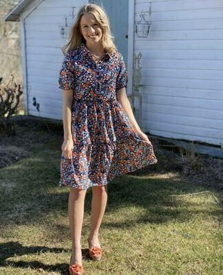 ORANGE/NAVY FLORAL DRESS