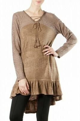 SWEET BROWN SPRING SWEATER DRESS