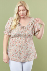 FLORAL TOP W/ PUFF SLV