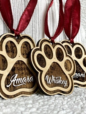 Personalized 3D DOG Paw Print Christmas Tree Decoration