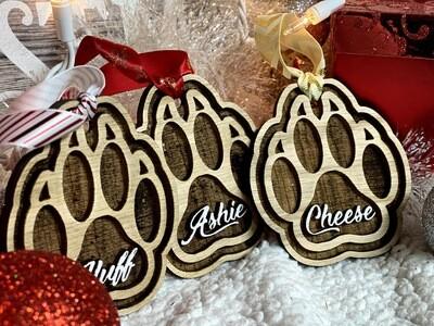Custom Cat Paw Print Christmas Tree Decoration