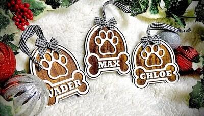 Personalized Rustic Puppy Bone/Paw White & Black Buffalo Plaid Christmas  Ornament