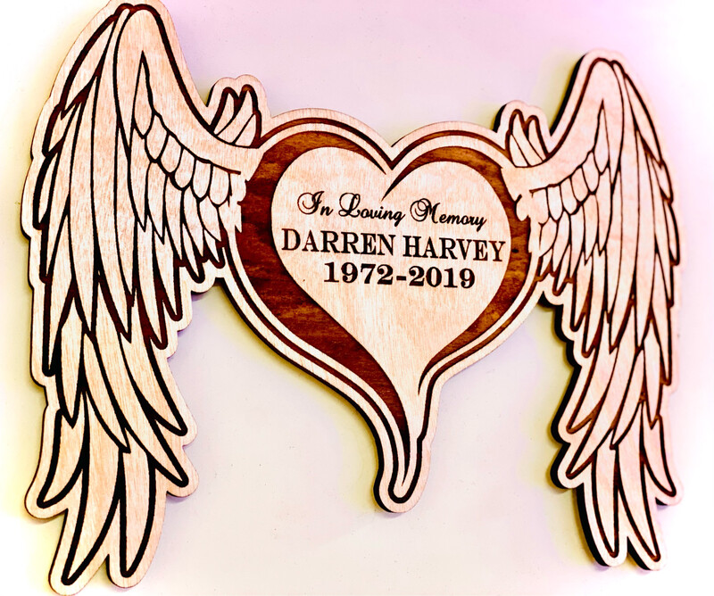 In Loving Memory Wings & Heart - Wall Plaque™️