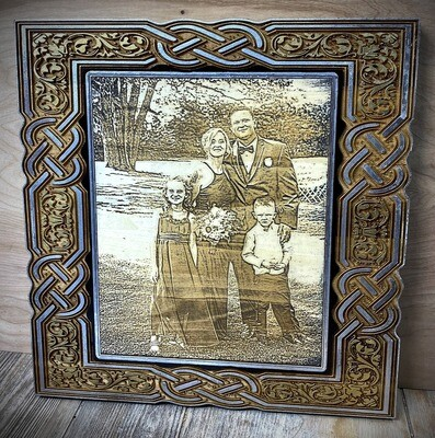 """Wooden Laser Engraved Picture 13""""x14""""x1"""""""
