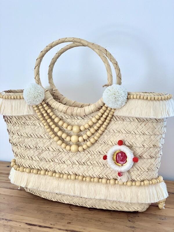Wood bead garland/Gootchi Basket