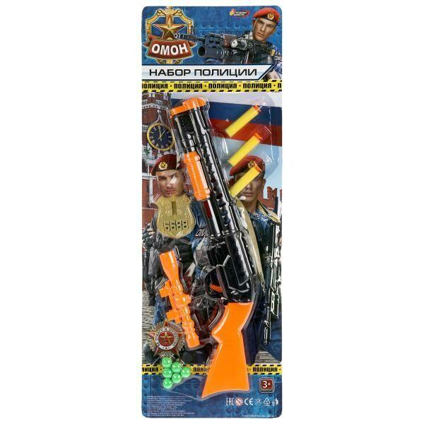 Набор оружия полиции (автомат+прицел+значок+ пули) на блистере