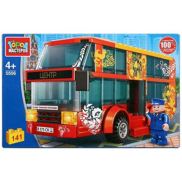 """Конструктор """"Город мастеров"""" двухэтажный автобус, с фигуркой, 141дет."""