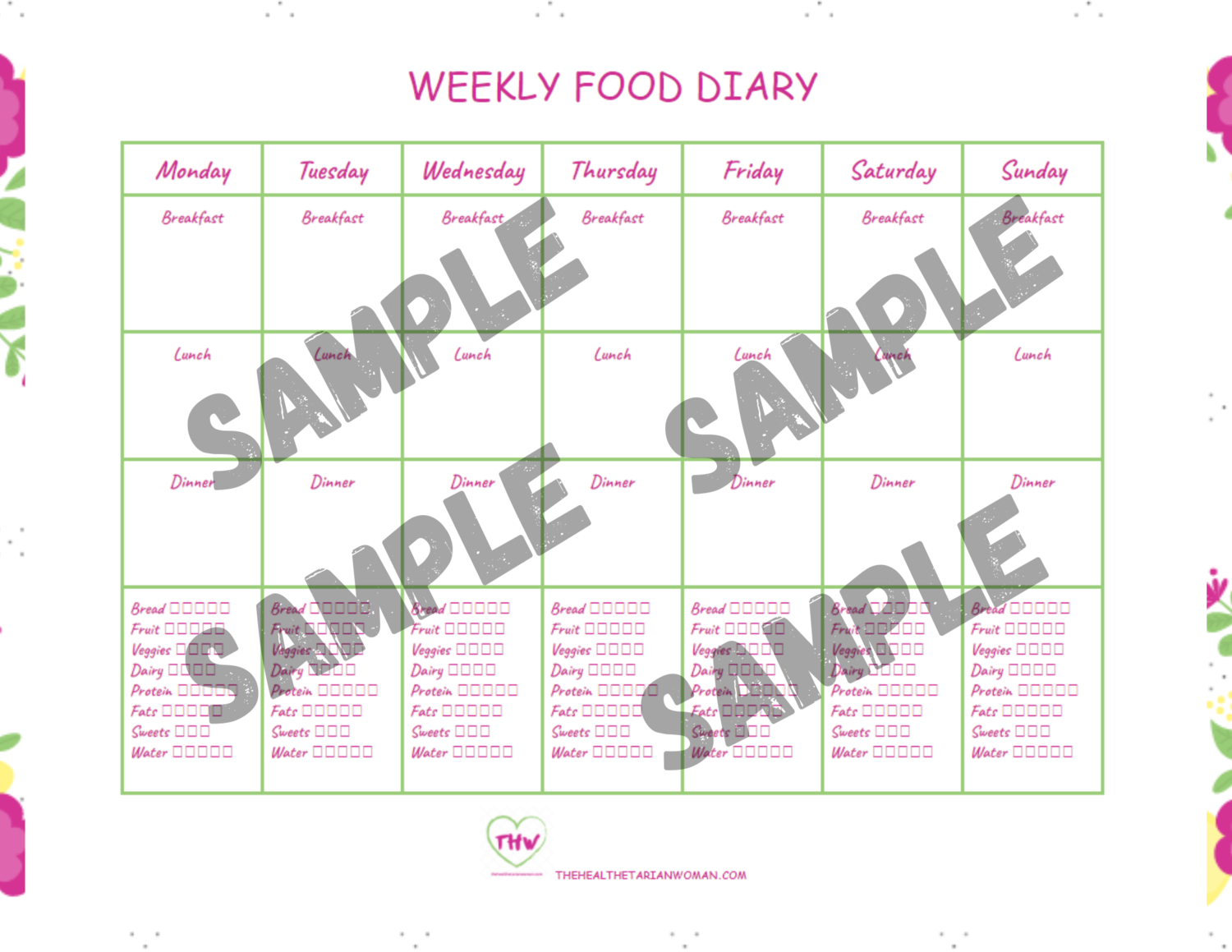 Weekly Breakfast, Lunch, Dinner Printable Food Diary Tracker Planner Sheet