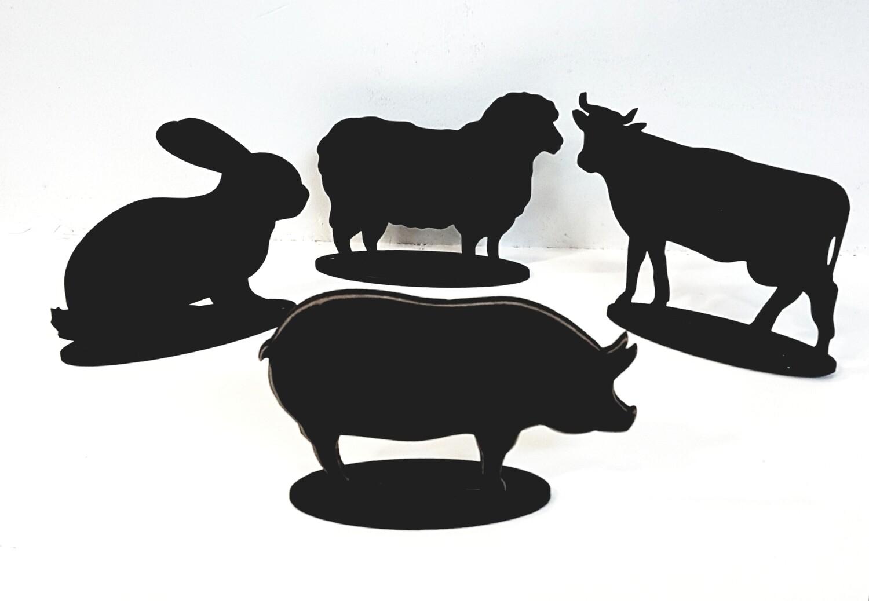 """Ценник меловой """"Животные"""" на подставке в асс."""