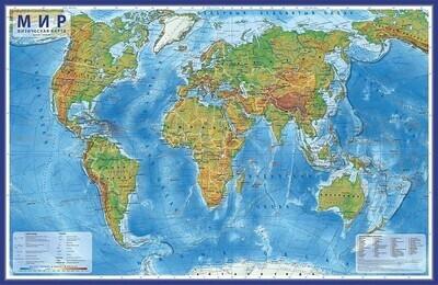 Карта мира физическая 101х66 см, 1:29М, с ламинацией, интерактивная, в тубусе, BRAUBERG