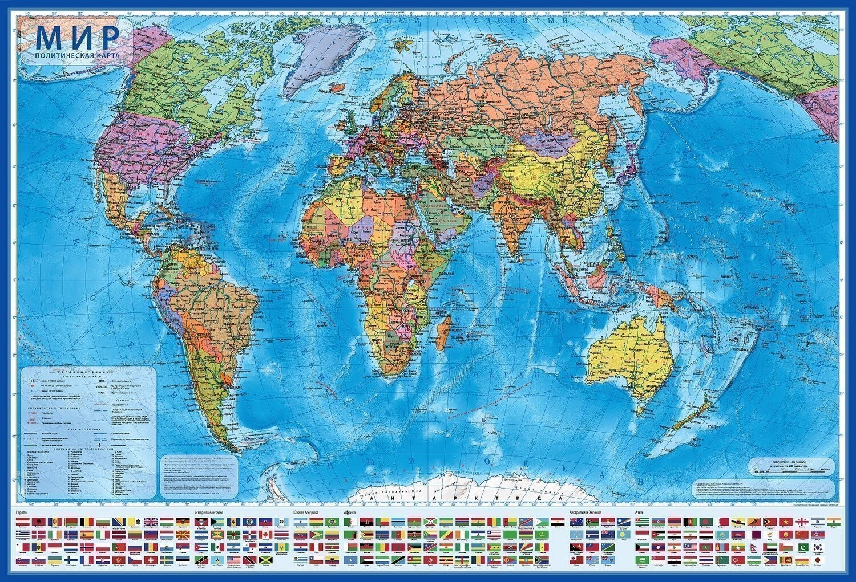 Карта мира политическая 101х70 см, 1:32М, с ламинацией, интерактивная, европодвес, BRAUBERG