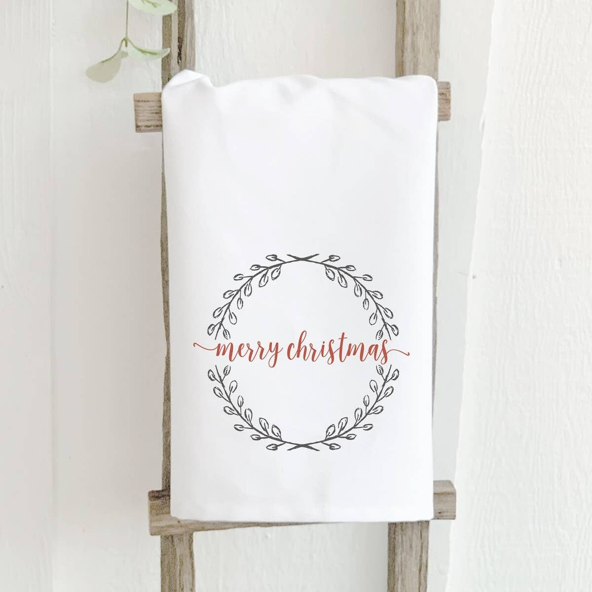 Merry Christmas Wreath - Cotton Tea Towel