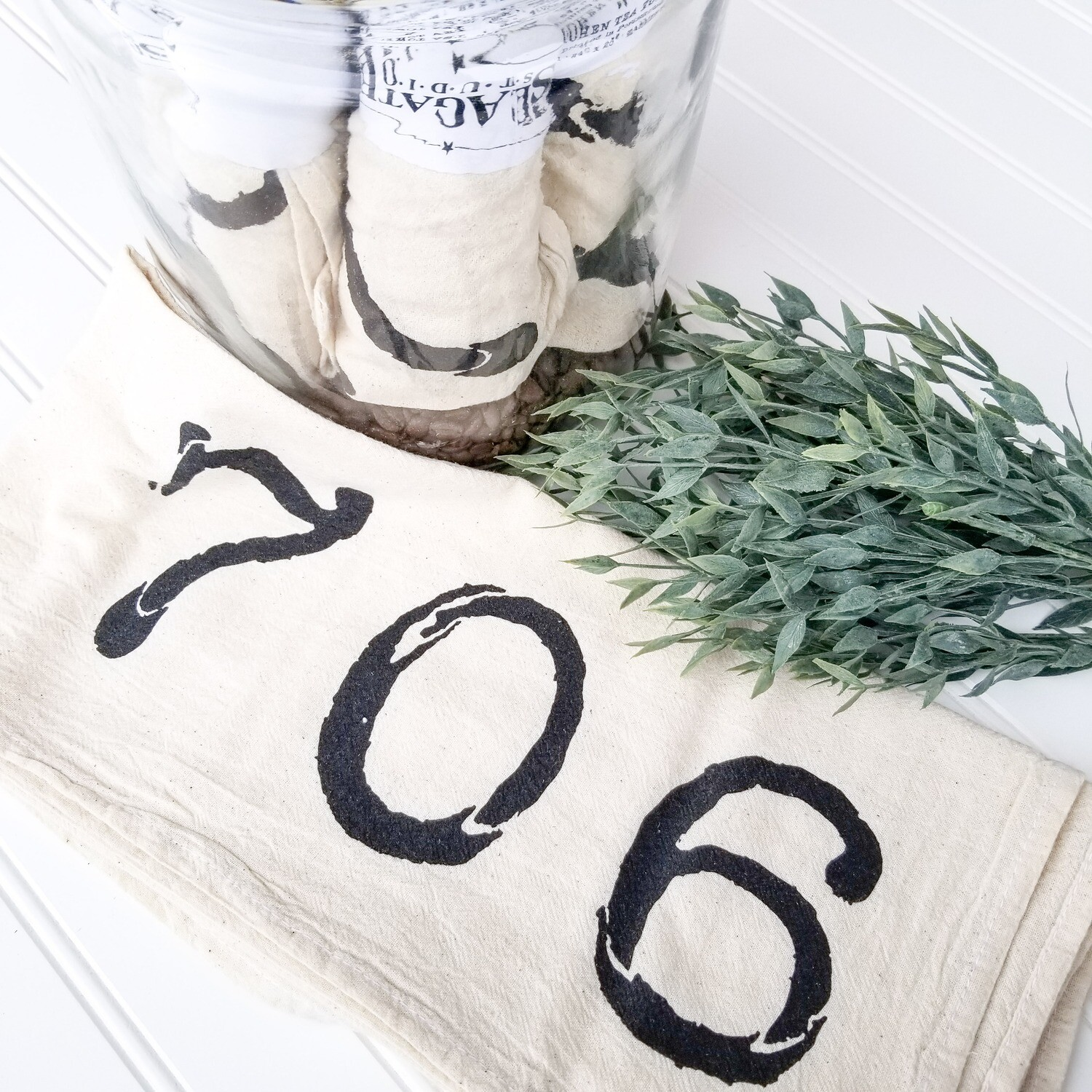"""706"" Tea Towel - Cream"