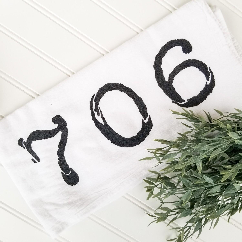 """""""706"""" Tea Towel - White"""