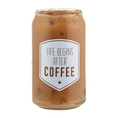 Life Begins With Coffee - Iced Coffee Glass