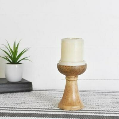 """6.5"""" Wooden Candlestick"""