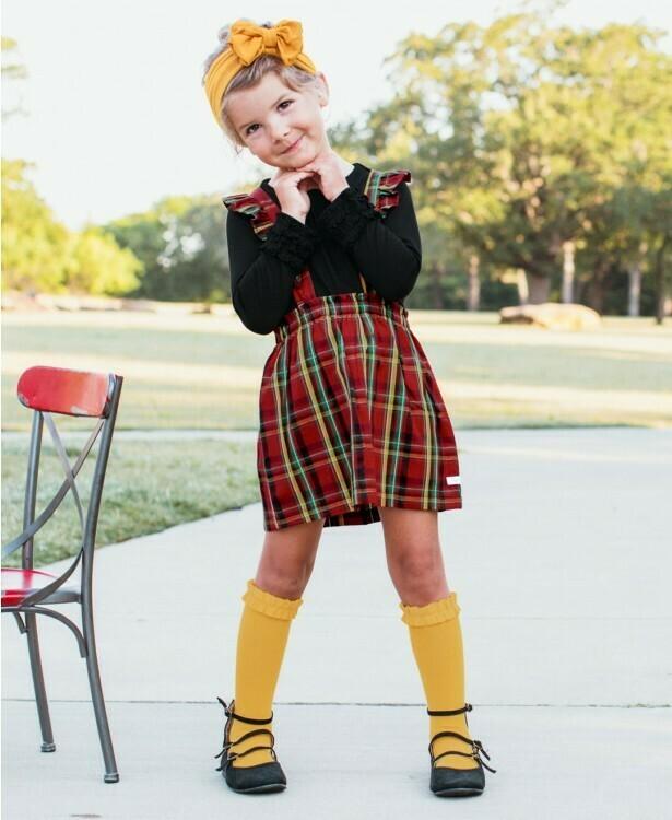 Remington Plaid Ruffle Strap Skirt