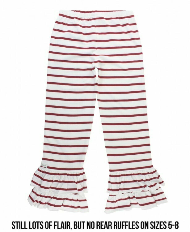 White & Cranberry Strip Ruffle Pants