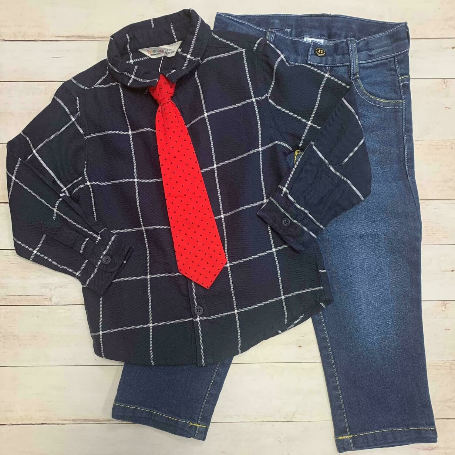 Navy Button Up with red Tie