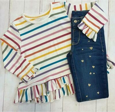 Harvest Stripe Rainbow Ruffle Hem Top