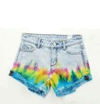 Tie Dye Fray Hem Shorts