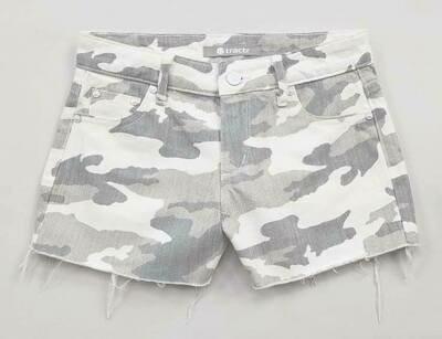 5 Pocket Fray Hem Camo Shorts