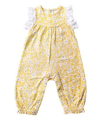 Yellow Floral Angel-Sleeve Playsuit